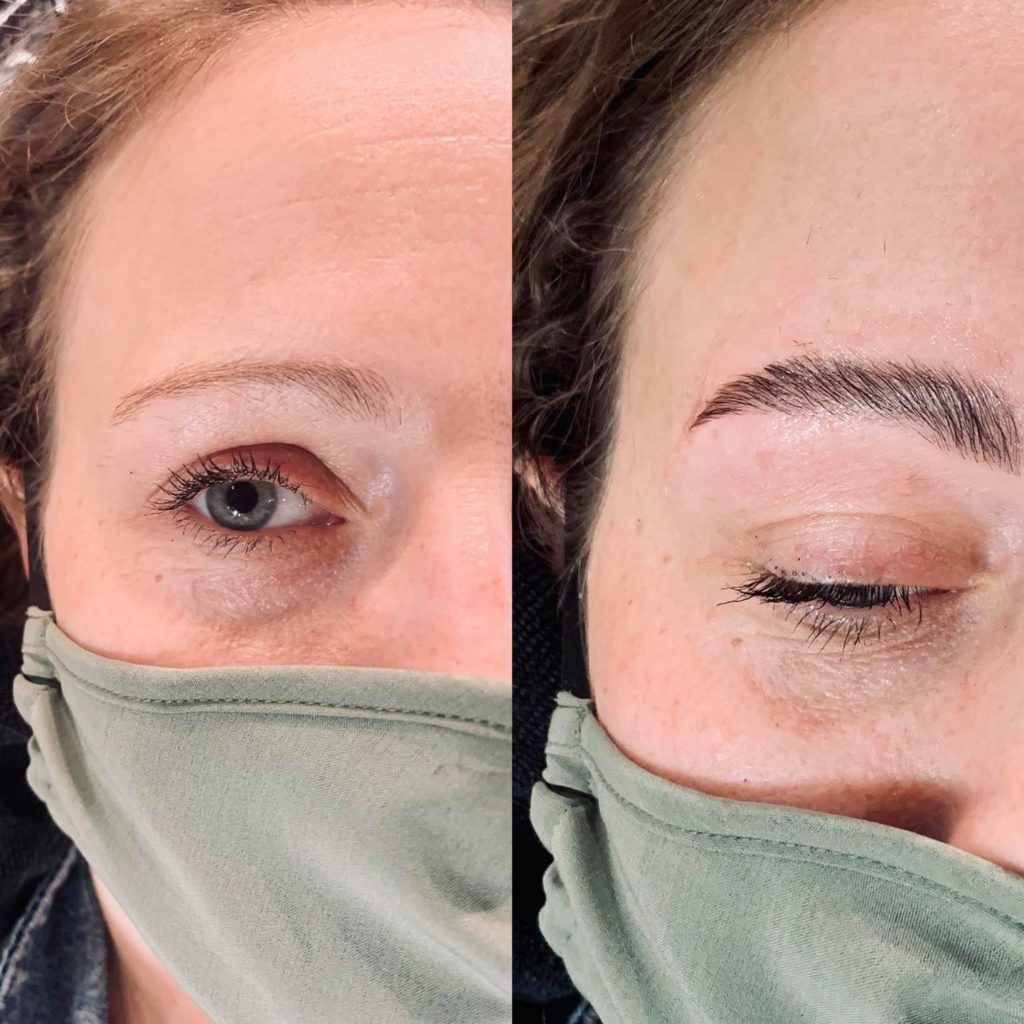 What is brow lamination? A before and after a brow lamination ona client at Mill Pond Salon